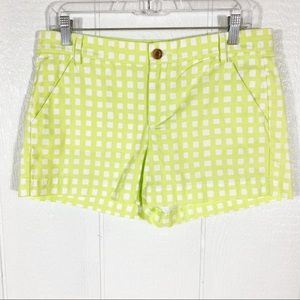 Gap Neon Green and White Checked Plaid Shorts